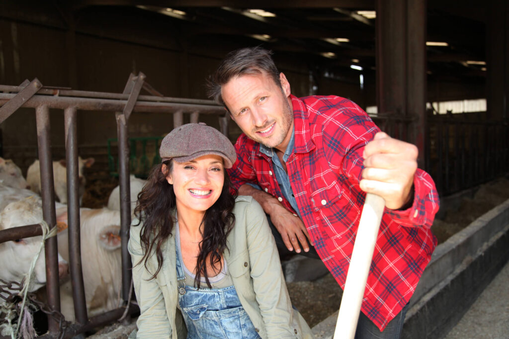 Couple of farmers standing in barn